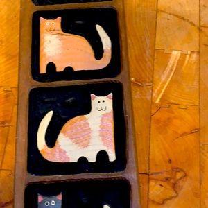 WOODEN CAT PLAQUE